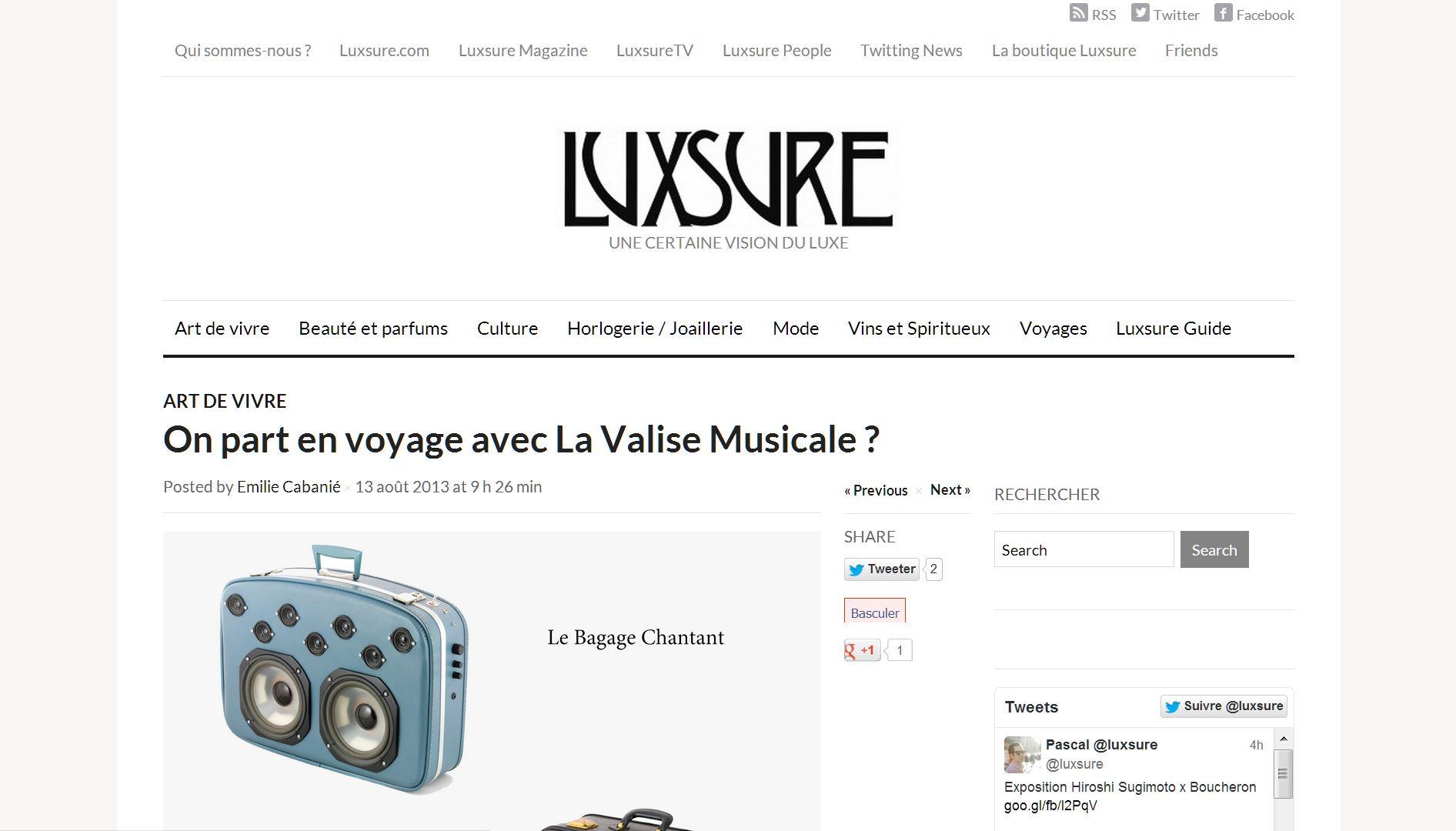 Valise Musicale chez Luxsure