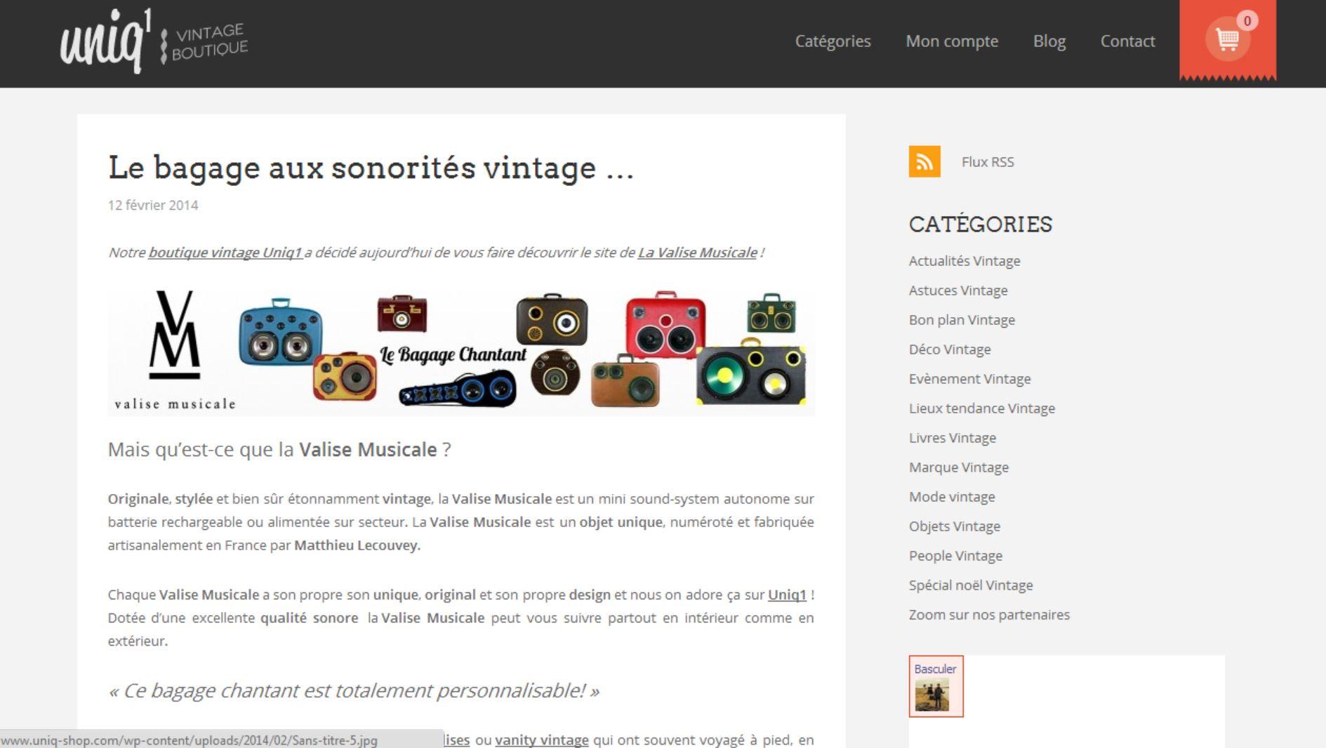 Valise Musicale chez Uniq1.com