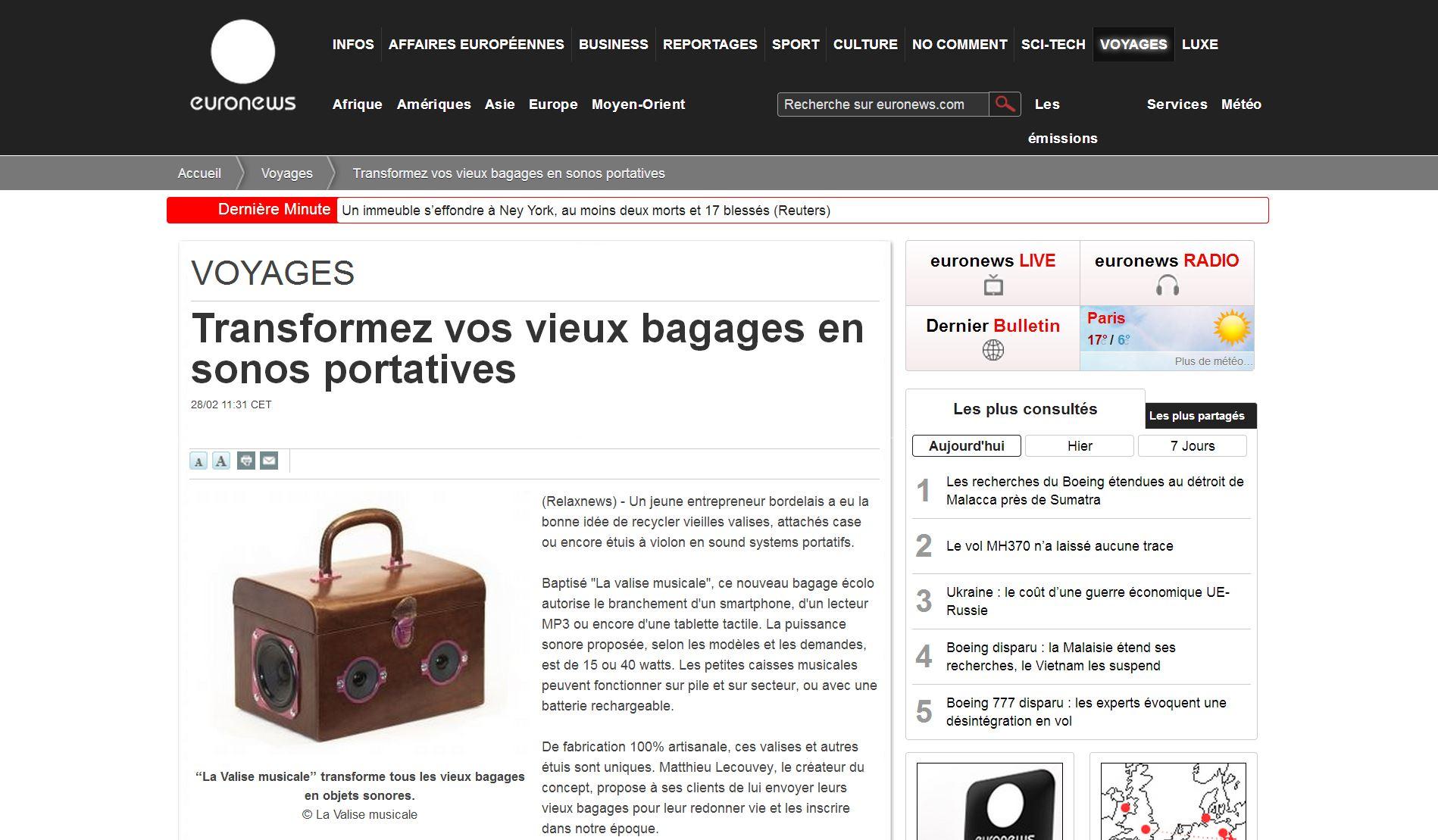 Valise Musicale chez Euronews.com