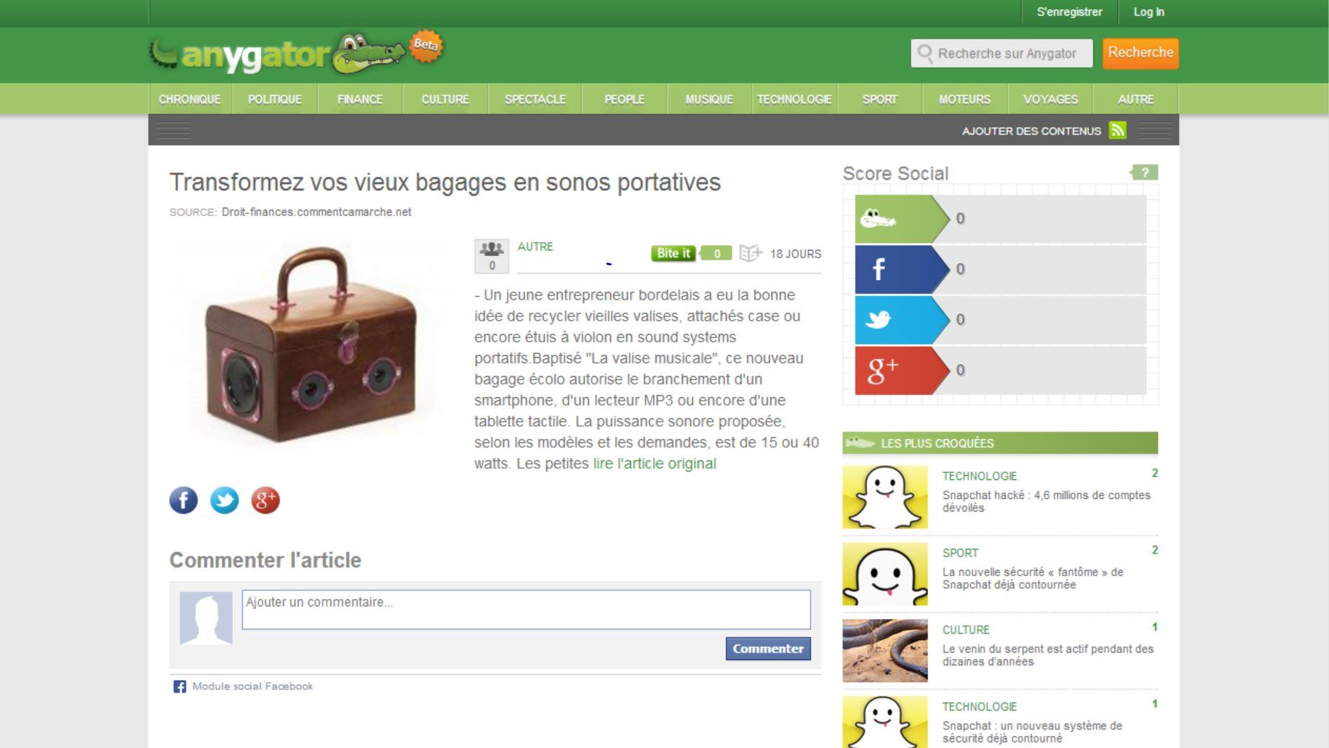 Valise Musicale chez Anygator.com