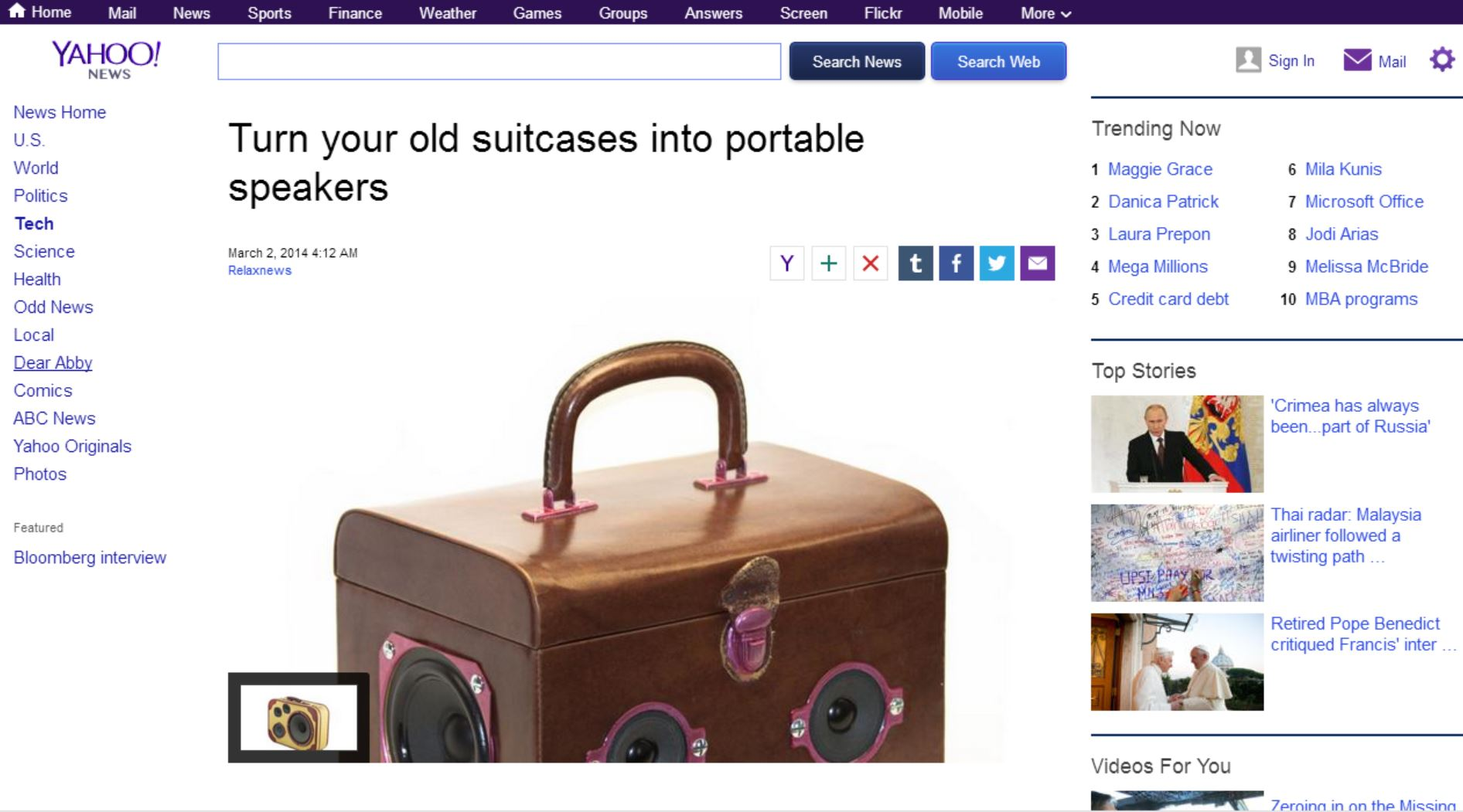 Valise Musicale chez Yahoo.News.com